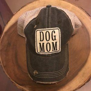 Dog Mom Black Distressed Hat